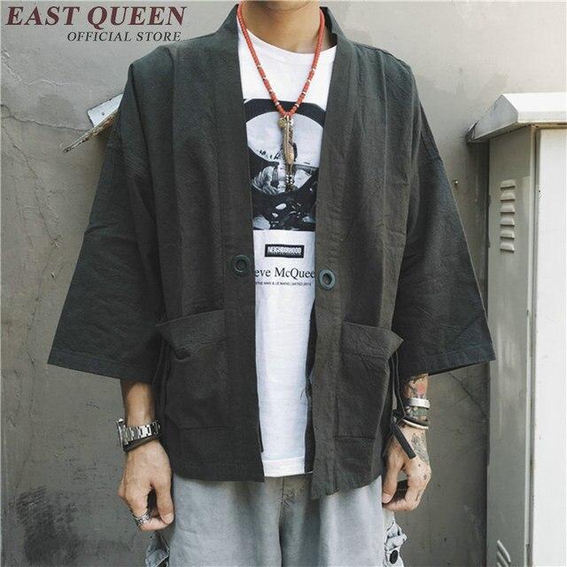 Kimono Herren Männlichen Kleidung Yukata Shirt Jacke Kostüm Samurai Haori Strickjacke Japanischen Männer RwvvO