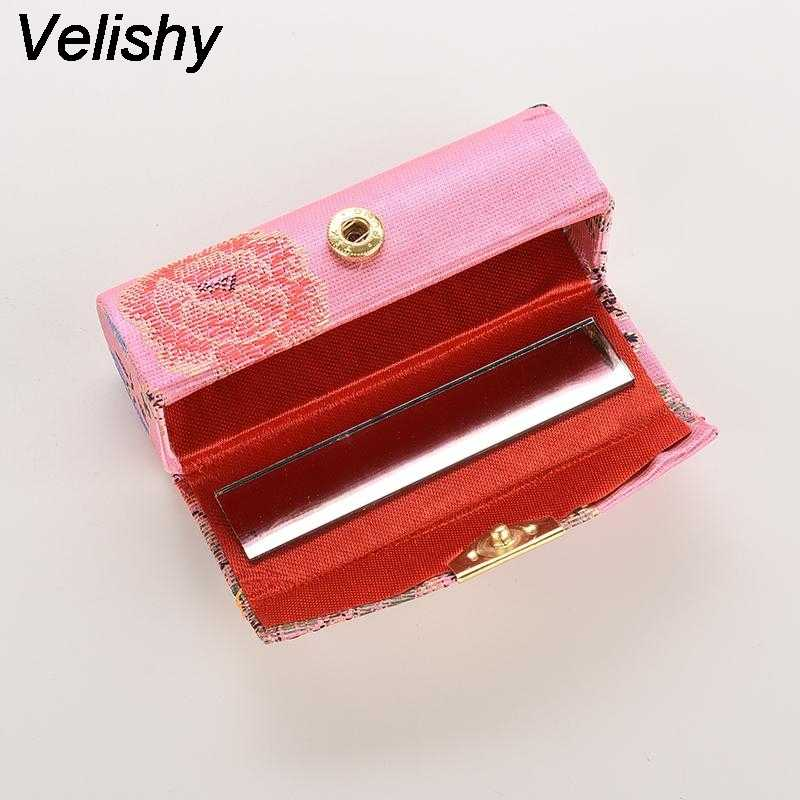 Velishy 1PC Hot selling Mini Embroidered Flower Design Lipstick Case Box with Mirror Hasp Cosmetic Bags Coin Lipstick Holder