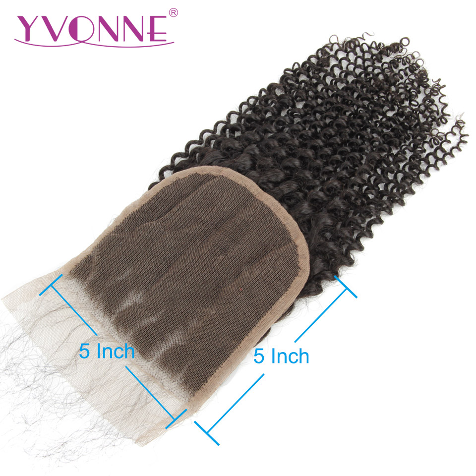 YVONNE Kinky Curly 5x5 Lace Closure 100% Human Hair Closure Brazilian Virgin Hair Free Part Natural Color