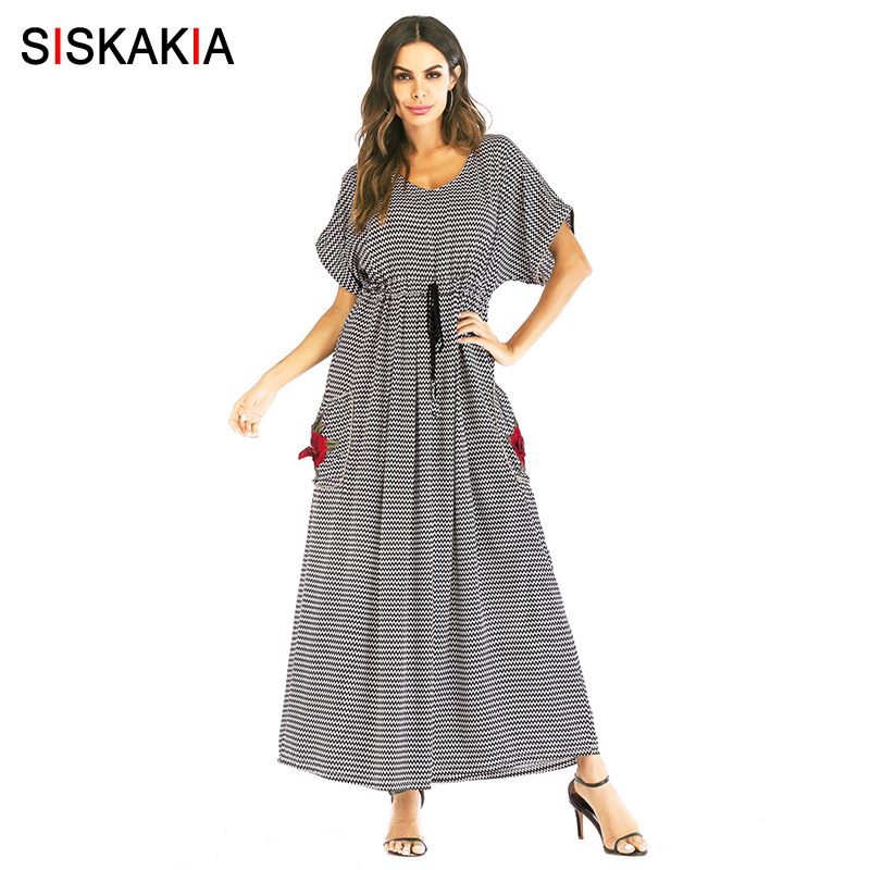 Siskakia Maxi Long Dress for Women Big Pockets Rose Embroidery Ripple Print dress elastic waist fashion lace Up swing dresses