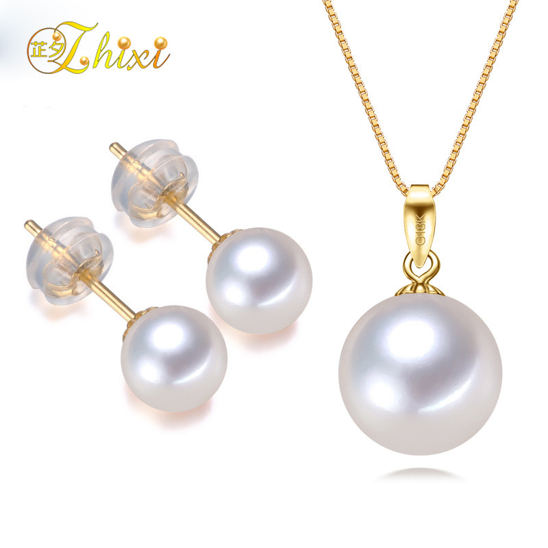 ZHIXI Fine 18 K ensemble de bijoux en or jaune AU750 collier de perles d'eau douce naturelles pendentif boucles d'oreilles ensembles de bijoux de mariée classique T027