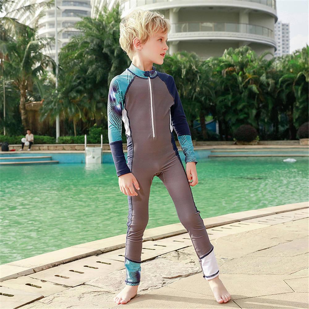 Long Sleeve One Piece Swimsuit For Boys Children Swimwear Child Rash Guard Kids Diving Suit Long Panties Surfing Suit Zipper