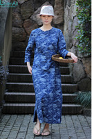 100 Cotton Clothing Blue Camouflage Women S Chinese Style Handmade Buttons Long Female Linen Cheongsam Dress