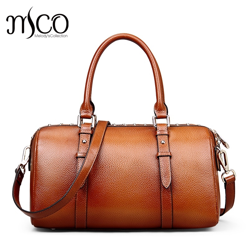 Top-Handle Bags Ladies Real Leather Boston Bag Designer Handbags High Quality Women Shoulder Bag Female Tote Bag bolsa feminina luyo genuine leather casual tote big bag handbag basket shoulder top handle bags female women designer handbags bolsa feminina