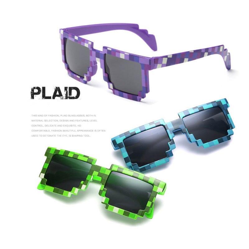 Модные Забавный мозаика детские солнцезащитные очки cos действие игры мультфильм игра игрушки Minecrafter квадратные очки для детей