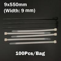 9*550 ملليمتر 9x550 ملليمتر (9 ملليمتر العرض) أسود أبيض شبكة الأسلاك سلسلة حزام التفاف ربط العلاقات البريدي الذاتي قفل النايلون البلاستيك الكابل ا...
