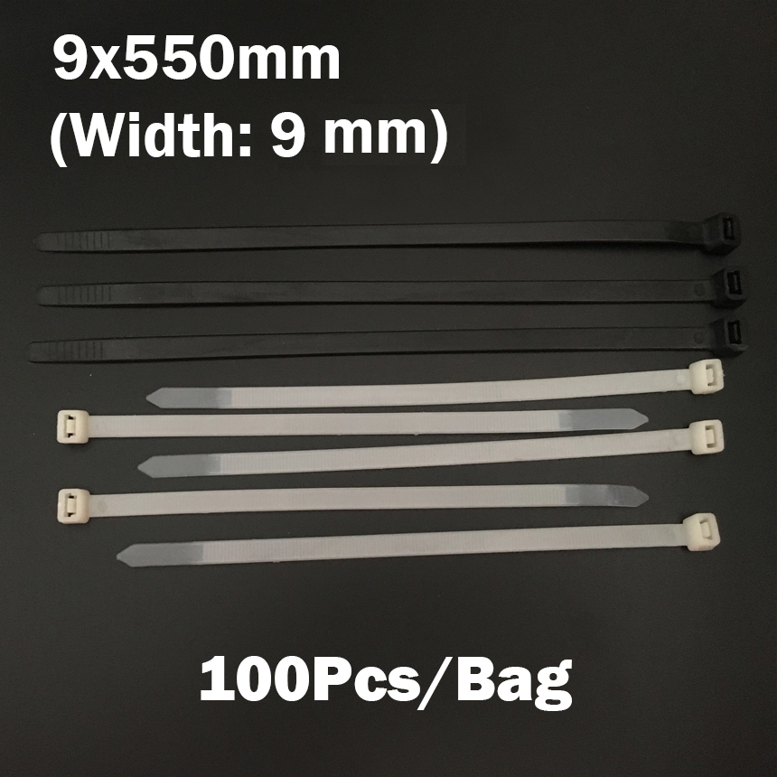 9*550mm 9x550mm (9mm Width) Black White Network Wire String Self-Locking Nylon Plastic Strap Wrap Fasten Zip Ties Cable Tie