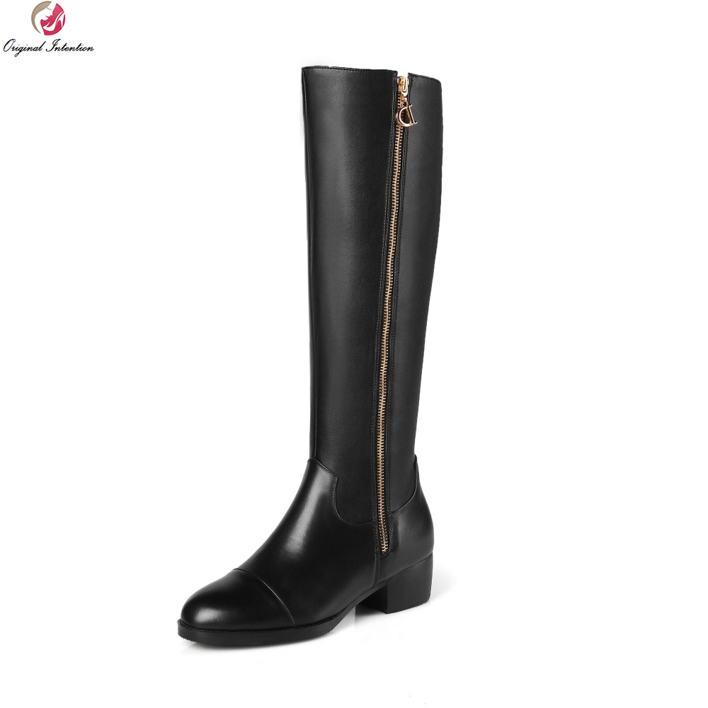 Original Intention New Arrival Women Knee High Boots Nice Round Toe Square Heels Boots Popular Black Shoes Woman US Size 4-13 original intention nice fashion women knee high boots round toe square heels boots beautiful black shoes woman us size 3 5 13