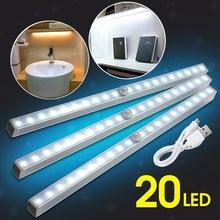Wireless PIR Motion Sensor LED Strip Night Light Bedroom Wall Stair Cabinet USB Charging