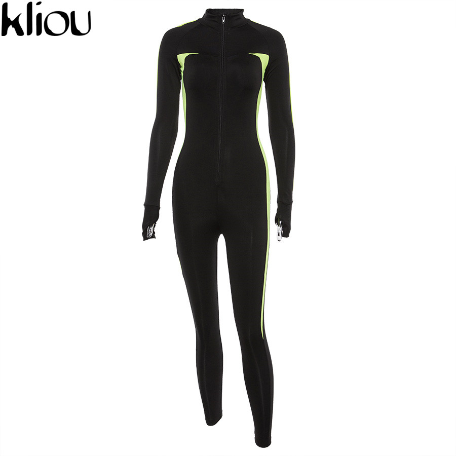 Kliou Fluorescent Color Patchwork Female Push Up Fitness Jumpsuits Autumn Winter Women Full Sleeve Zipper Turtneck Jumpsuit #6