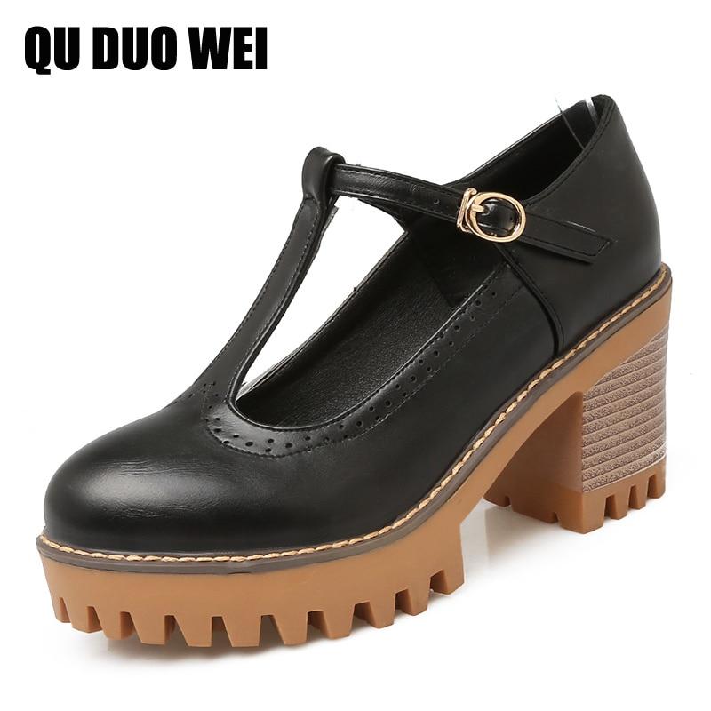 ФОТО Big Size 35-43 T-Strap Women Pumps 2017 New Sqaure High Heels Oxford Shoes Woman Platform Bullock Shoes Creepers