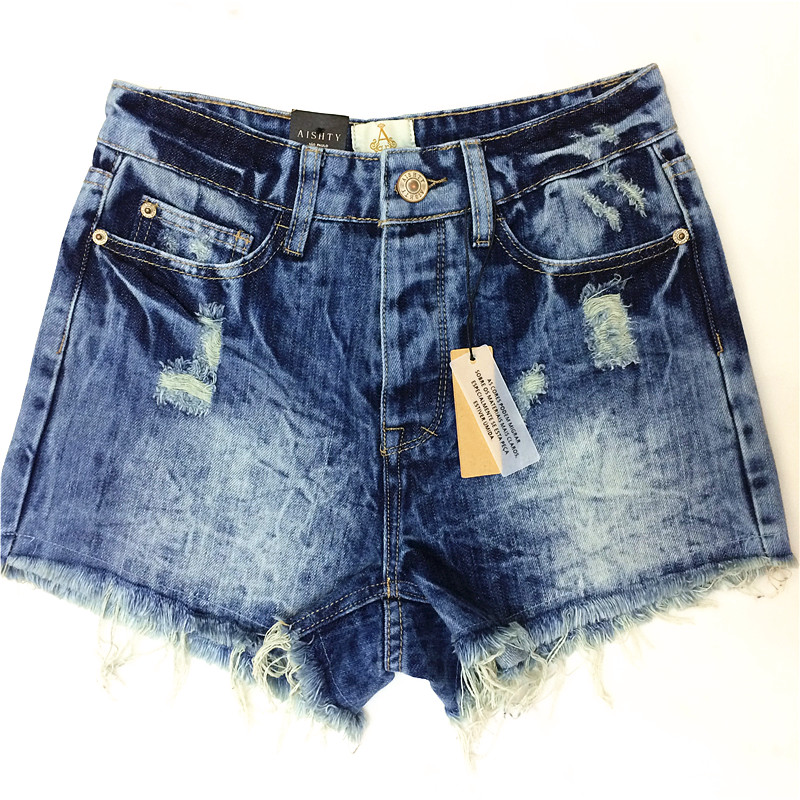 2014 Destroyed Dirty Ripped Distress Jeans-Shorts mit hoher Taille - Damenbekleidung - Foto 1