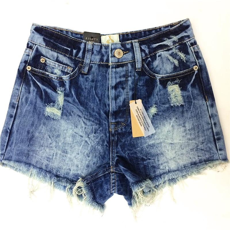 2014 Ødelagt Dirty Ripped Distress Denim Shorts Jeans til kvinder - Dametøj