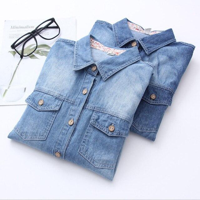 Заводская распродажа Качество Для женщин Дерево Кнопка Джинсовая рубашка с длинным рукавом Для женщин отложной Воротник Джинсовая блузка плюс Размеры Blusa Для женщин пальто
