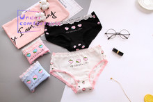 [New] Japanese Style Pure Freshness Strawberry Printed Cotton Mid-Rise Girls Briefs L230