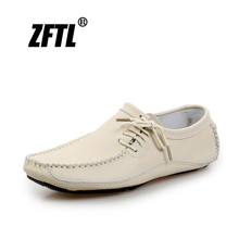ZFTL Men's Boat Man Loafers Men Casual shoes big size 38-47 male Driving shoes Slip-on Genuine Leather shoes Hand made     030 цена