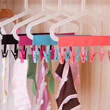 Portable Clothes Clip Rack Multifunction Bathroom Travel Foldable Hanging Towel Clips