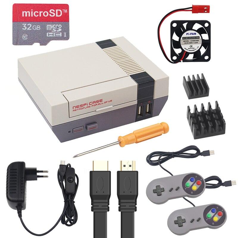 Funda n + Raspberry Pi 3 B + caja de retrobandera NES + ventilador + tarjeta SD 32G + controlador de almohadilla de juego + fuente de alimentación 3A con Cable HDMI
