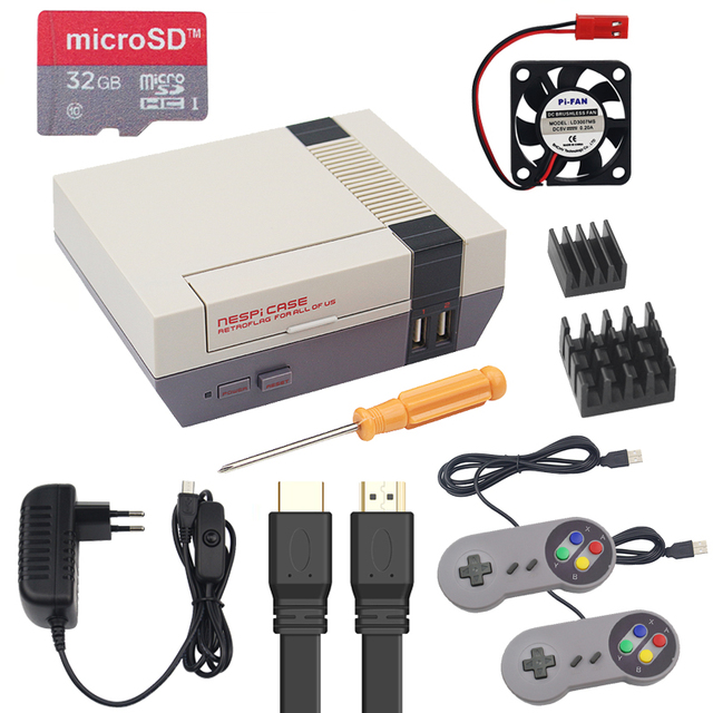 NESPi CASE Plus Raspberry Pi NES Retroflag Box + 32G SD Card + Game Pad + 3A Swith Power Supply for Raspberry Pi 3 Model B+