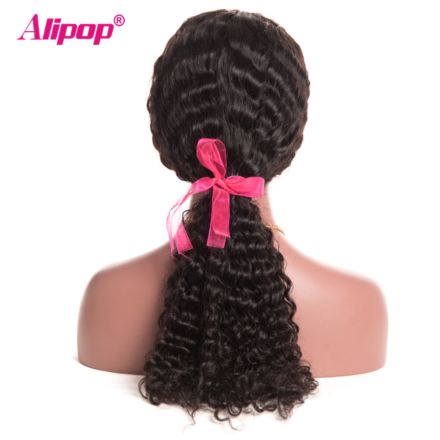 180 Density ALIPOP Deep Wave 360 Lace Frontal Wig With Baby Hair Brazilian Lace Front Human