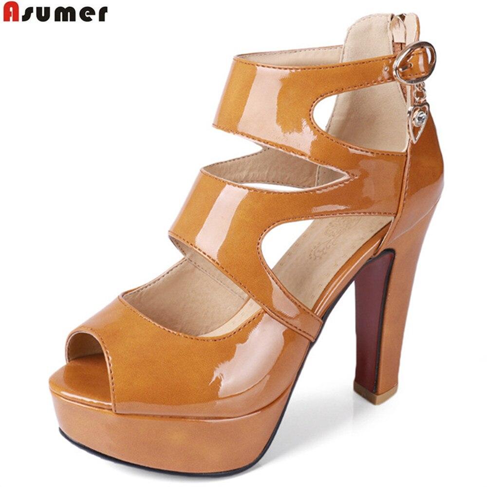 ASUMER black white fashion summer ladies shoes peep toe zip buckle platform women high heels sandals
