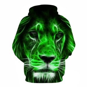 Image 4 - 2019 Animal print hooded Sweatshirts Purple green yellow Lion head 3D Hoodie Female Male Autumn Pullover Xxxtentacion Tracksuit