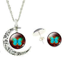 Necklace & Jewelry Set Hollow Moon with Glass Cabochon Blue Butterfly Pattern Pendant Necklace & Earring Jewelry Set for Women(China)