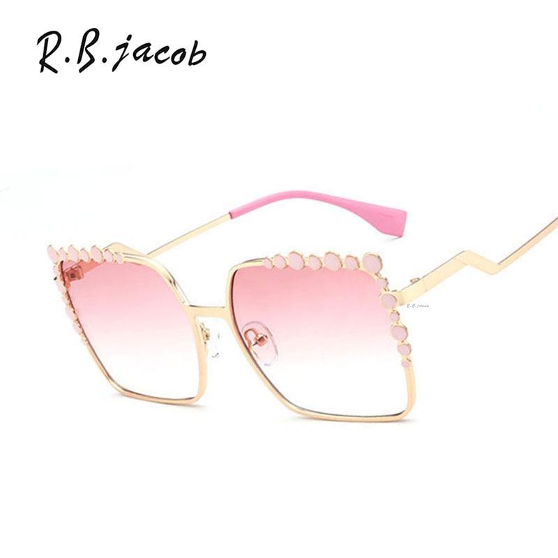 Square Luxury Sunglasses Women Mirror Rose Gold Brand Designer Sun glasses Lady Eyewear Female bending Frame diamond