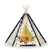 Pet Teepee House Pet Bed Cat Bed Pet House Portable Dog Tents Pet House Bed Star Pattern for Small Dogs with Cushion