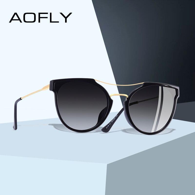 AOFLY BRAND DESIGN Fashion Sexy Cat Eye Polarized Sunglasses Women 2020 Sunglasses Classic Gradient Eyewear Oculos UV400 A116Womens Sunglasses   -