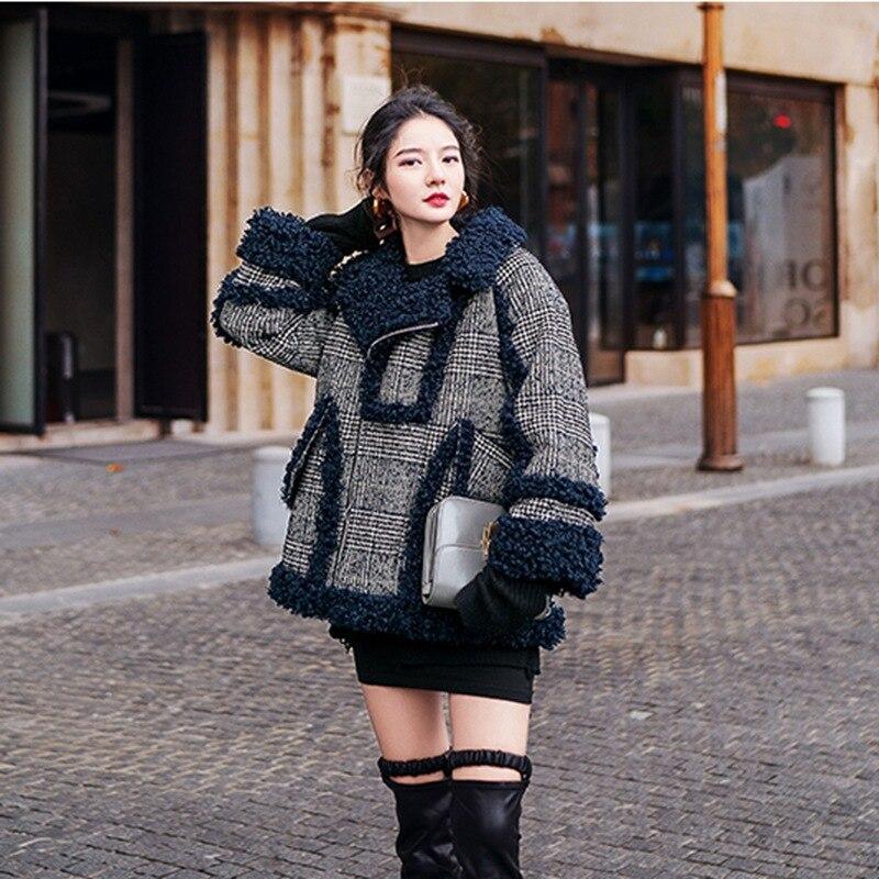 Laine Mode De D'hiver Port Femmes Saveur Motif Agneaux Plaid Court Manteau Hiver Locomotive 2018 Nouveau Vestes nqO4xF7P