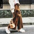 TANGNEST Mujeres Pantalones de Pierna Ancha 2017 de La Moda de Primavera Pantalones de Piel de Conejo Bola de Mediados de Cintura Hasta Los Tobillos Loose Streetwear WKX353