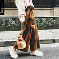 TANGNEST Women Wide Leg Pants 2017 Fashion Spring Trousers Rabbit Fur Ball Mid Waist Ankle Length Loose Streetwear WKX353