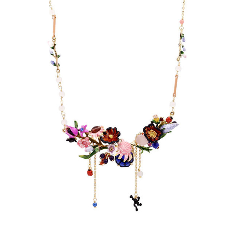 Statement Luxury Blooming flowers necklaces 2018 garden series enamel glaze Water lily flower tassel gem choker necklace все цены