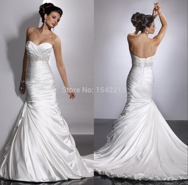 ce7c94373 Shiny White Ivory Elastic Satin Mermaid Wedding Dress Sweetheart Corset  Long Train Bridal Gowns Vestidos De Novia 2017