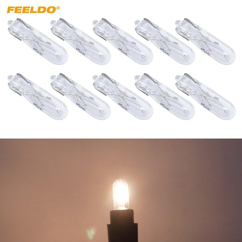 FEELDO 10Pcs Warm White Car T5 Wedge 12V 1.2W Halogen Bulb External Halogen Lamp Replacement Dashboard Bulb Light #FD-2933
