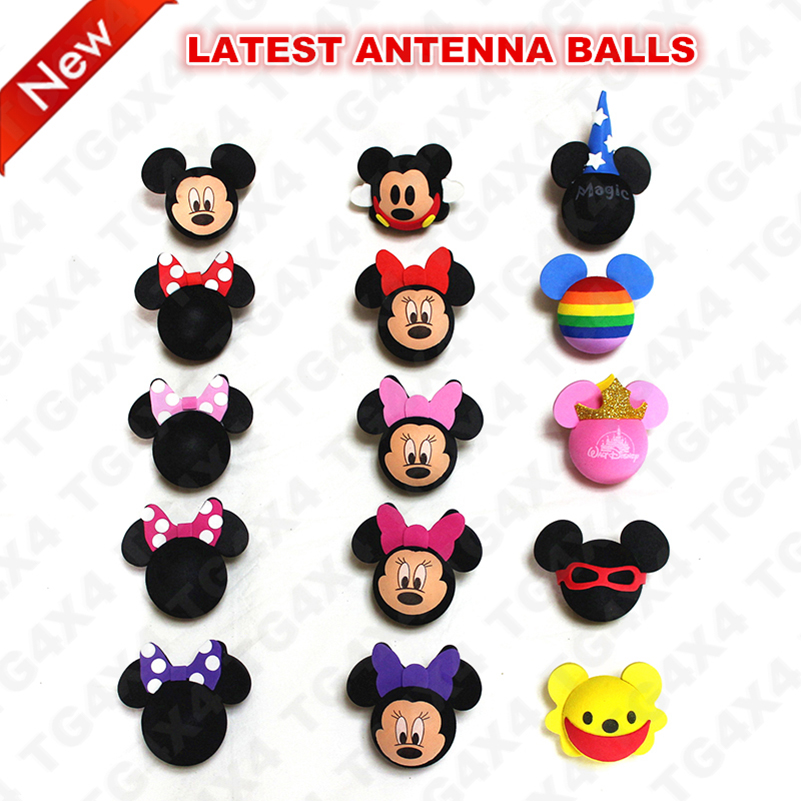 Antenna Ball Toppers Aerial Topper Balls Toppers Mini Cartoon Car Roof Decoration Micky Tenna Tops eva foam honeybee style car decoration antenna ball black yellow