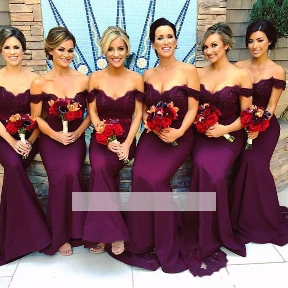 Purple 2019 Cheap   Bridesmaid     Dresses   Under 50 Mermaid Off The Shoulder Lace Beaded Long Wedding Party   Dresses   For Women