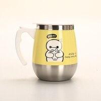 Милый творческий Нержавеющаясталь изоляции пузатый мультфильм молоко Кофе Чай кружка любовника термос чашка с рукояткой посуда