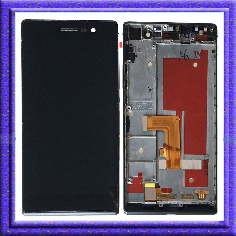 Black LCD Display Touch Screen Digitizer Glass Assembly+Frame For Huawei Ascend P7 P7-L10 white lcd display touch screen digitizer glass assembly frame for huawei ascend p7 p7 l10