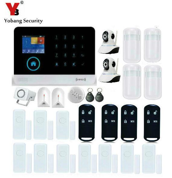 YobangSecurity WiFi GSM GPRS RFID Wireless Security Alarm System Video Ip Camera Siren Smoke Fire Detector for Business and Home smartyiba wireless wifi gsm gprs rfid home security alarm system home automation system ip camera smoke fire sensor detector