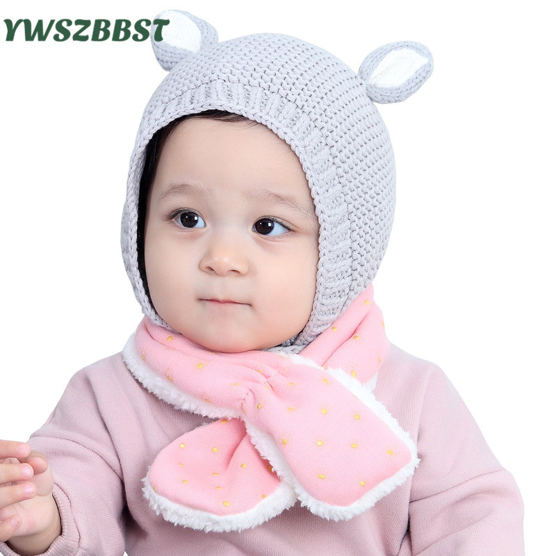 Fashion Baby Hats Autumn Winter Toddler Infant Knitted Baby Hat Caps Cute Bear Ear Hat Baby Beanie Cap Newborn Photo Props