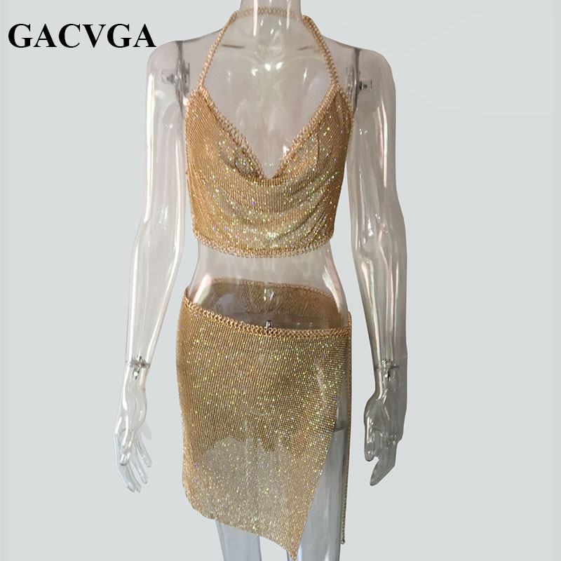GACVGA 2019 Crystal Sexy Crop Top Strand Fitness T-shirt Vrouwen Zomer Tops Metalen Party Tank Top Bralette Cropped Feminino Blusa