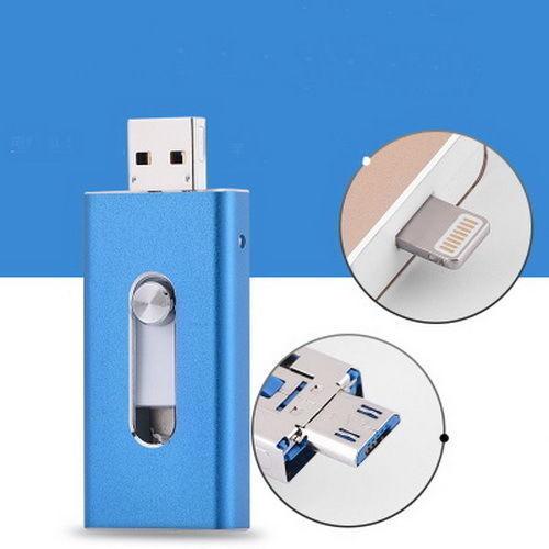 Купить с кэшбэком Hot 3 in1 otg Usb Flash Drive 64gb Usb Stick 32gb Pen Drive 16gb Usb Stick 8gb External Storage For iPhone 5/5s/5c/6/6s/7 Plus