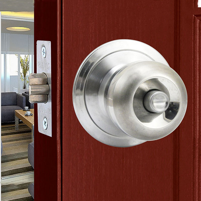 1Set Universal Security Door Lock Stainless Steel Round Door Lock Interior Room Ball Lock Bedroom Bathroom Handle Locks For Home thom king vintage yellow bronze wood door locks zinc alloy interior door handle locks bedroom living room door lock high quality