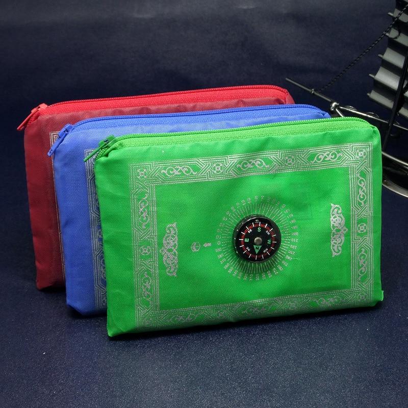 Muslim Portable Zipper Pocket Travelling Islamic Prayer Mat /rug/carpet for Worship Salat Musallah Prayer Rug Praying Mat