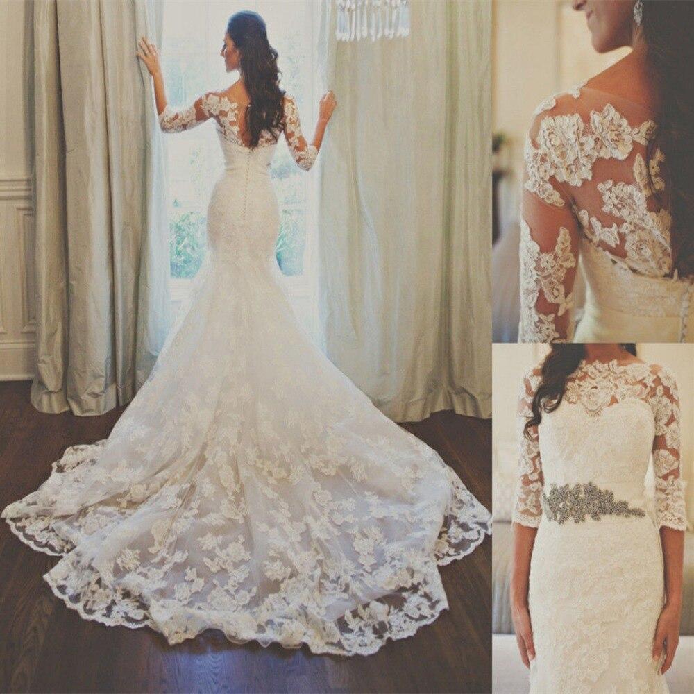 Ivory Greek Goddess 2017 Ivory Bohemia Wedding Dresses: 2017 New Collection Half Sleve Mermaid Lace Ivory Wedding