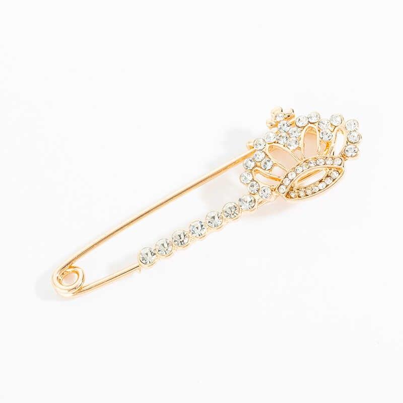 Baru Fashion Pin Bros Kepribadian Wanita Kristal Merak Bunga Mahkota Busur Bros untuk Wanita Kerah Pin Grosir