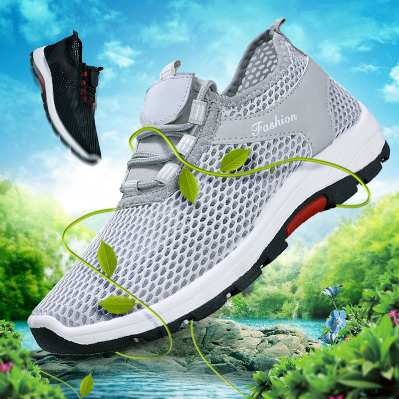 Casual Shoes Men Sneakers 2019 Fashion Solid Breathable Mesh Man Shoes Lace-up Comfortable Flat With Sneakers Men Running Shoes