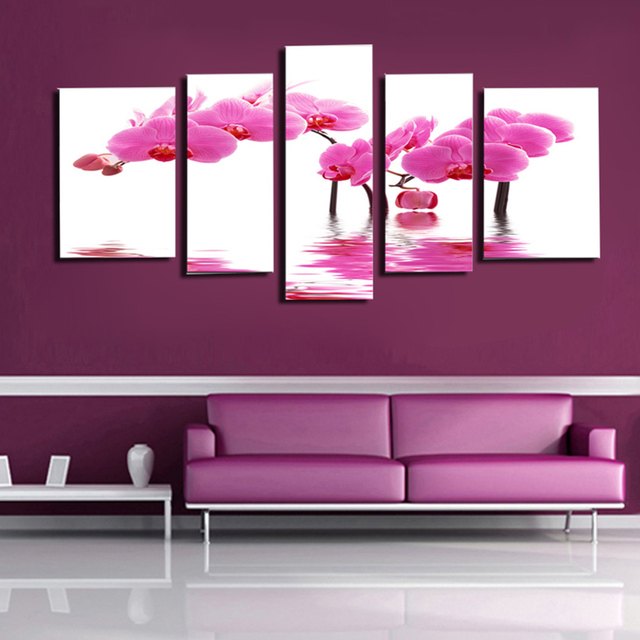 5 Panels HD Beautiful Pink Orchid Flower Wall Pictures For Living Room Artwork Painting On The